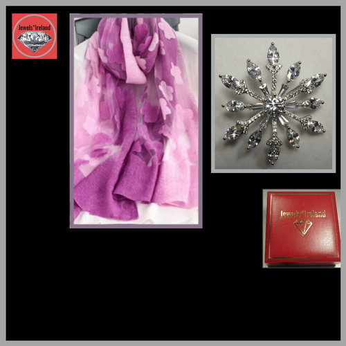 Shine with this beautiful star brooch & a free embroidery style scarf.