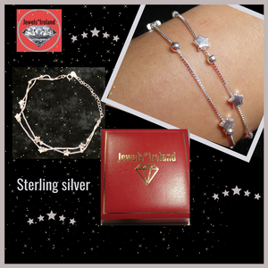 Silver 2 row star & ball  bracelet
