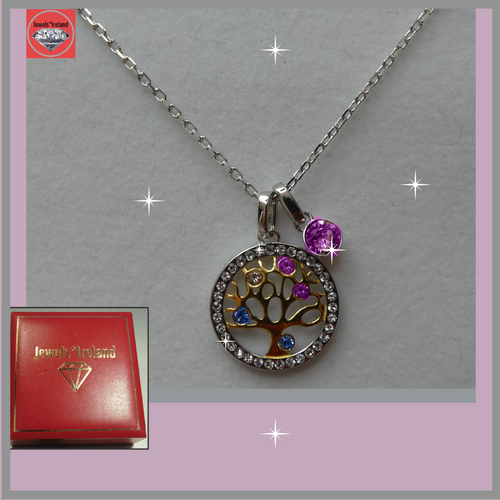 Sterling silver tree of life necklace with crystals