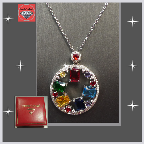 Circle multi colour crystal silver necklace