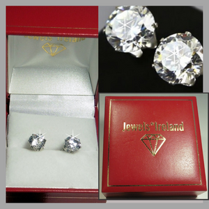 Solitaire brilliant man made diamond earrings.