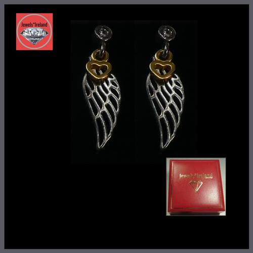 Silver feather and heart design earrings