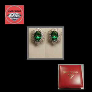 Emerald and diamond created earrings