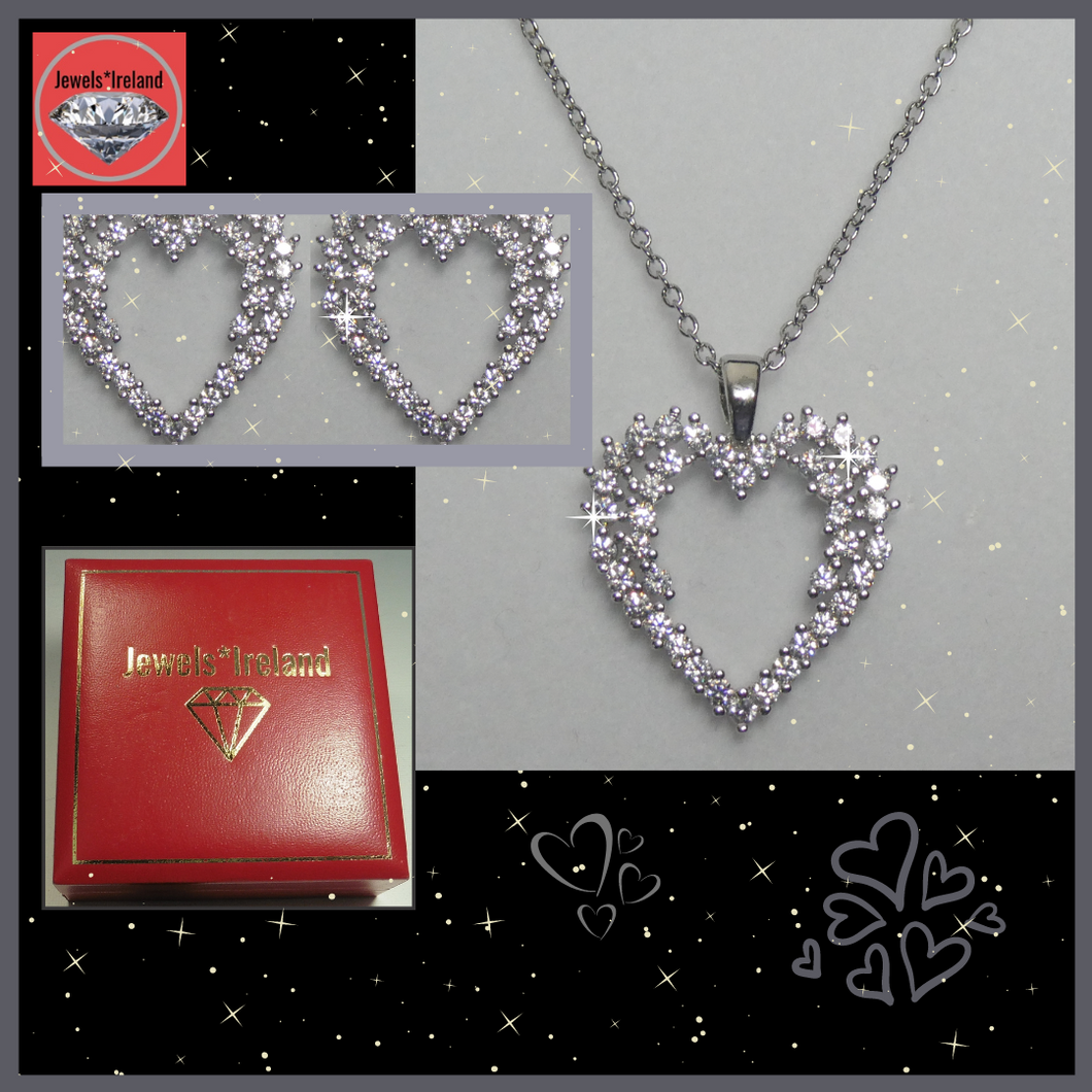 Statement heart shape diamond simulant necklace and earrings set
