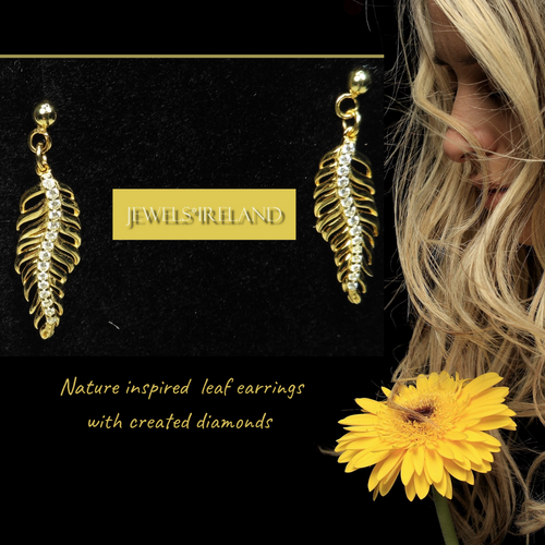 Gold leaf vermeil earrings