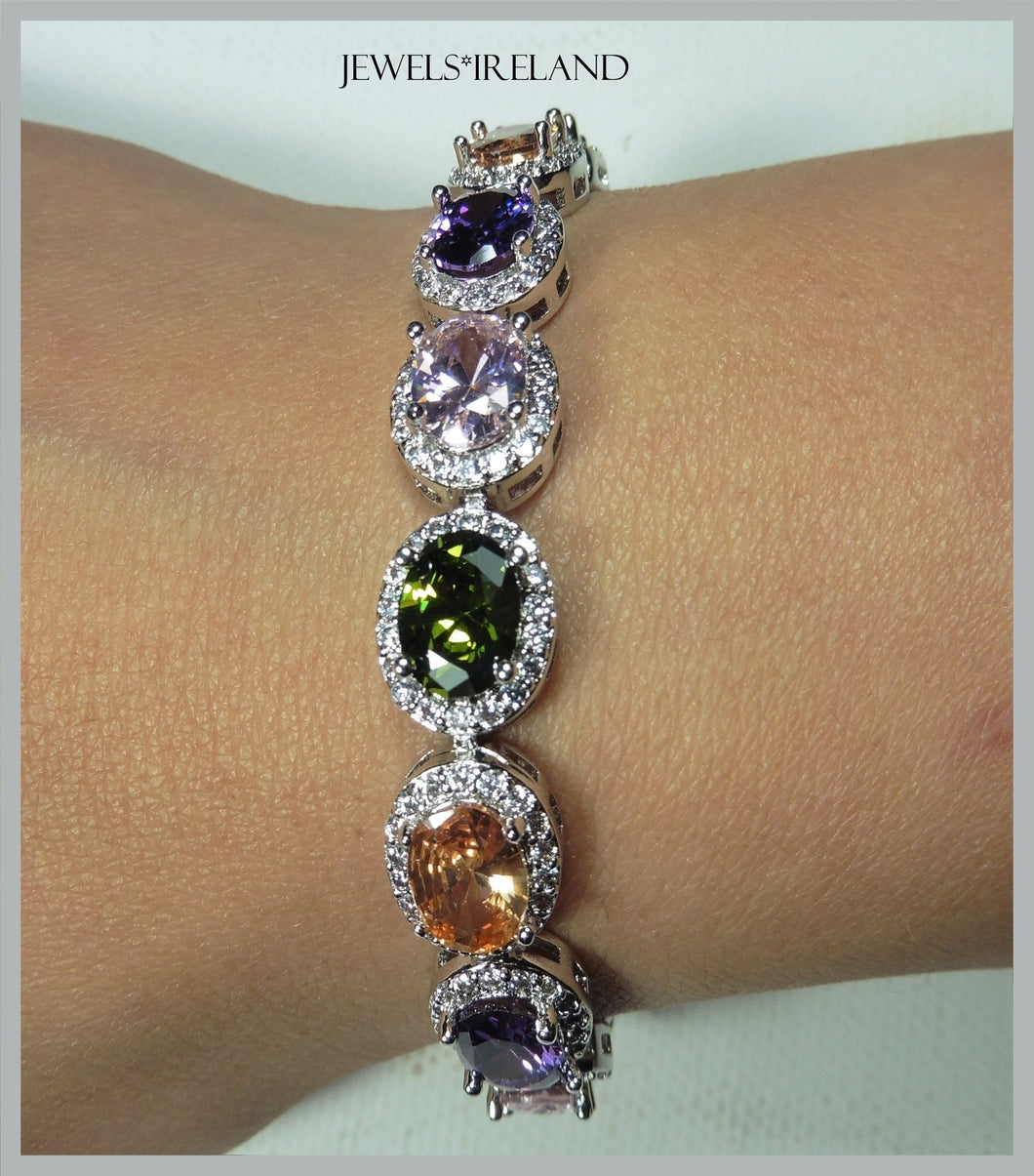Luxury lab created multi colour gemstone bracelet