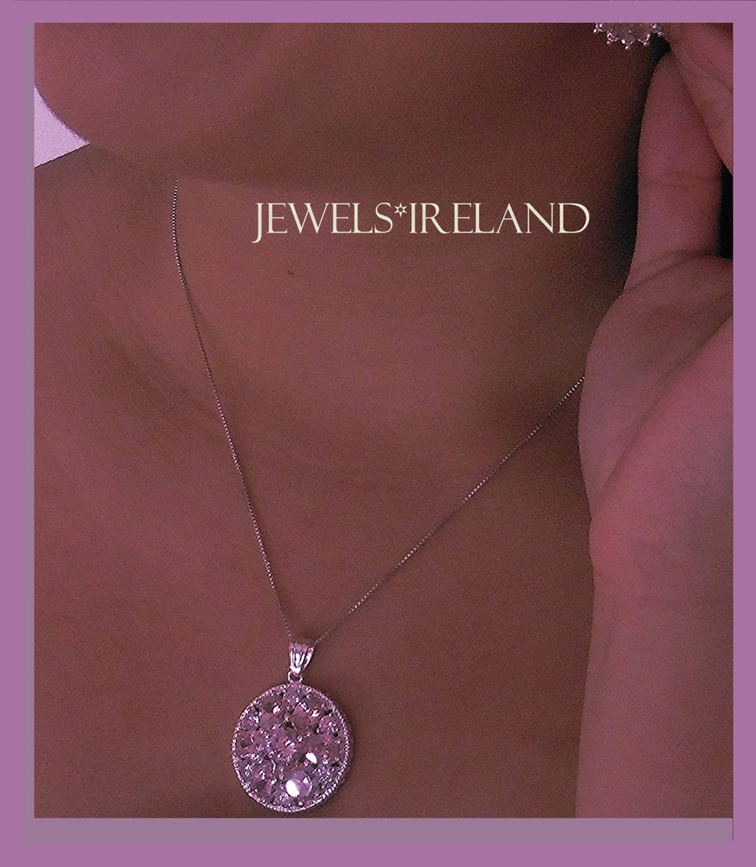 Pink bright sparkling ethical manmade diamond  pendant
