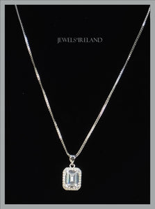 Classical  princess cut manmade diamond necklace.