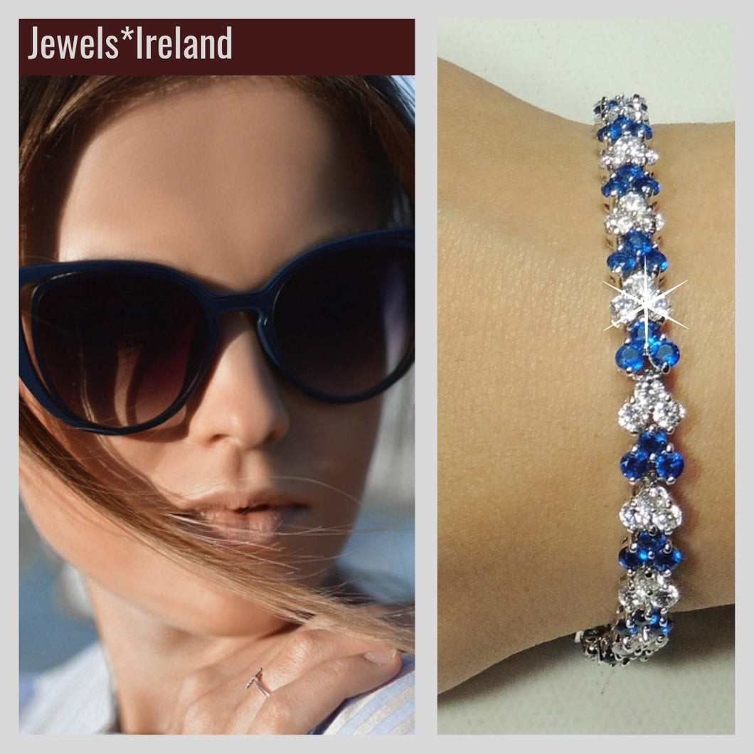 Sapphire created with ethical non mined diamond bracelet.