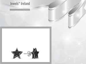 Lucky star earrings Silver+ rhodium+ CZ