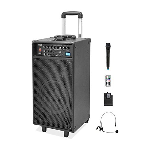 Pyle Pro 800 Watt Outdoor Portable Wireless PA Loud speaker - 10'' Subwoofer Sound System with Charge Dock, Rechargeable Battery, Radio, USB/SD Reader, Microphone, Remote, Wheels - PWMA1090UI