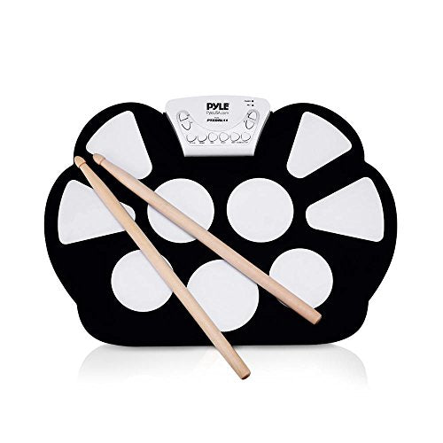 Pyle Electronic Roll Up MIDI Drum Kit - W/ 9 Electric Drum Pads, Foot Pedals, Drumsticks, & Power Supply Tabletop Roll Up Drum Kit | Loaded W/ Drum Electric Kits & Songs - Pyle PTEDRL11