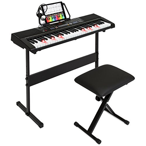 Best Choice Products 61-Key Electronic Keyboard w/Light-Up Keys, 3 Teaching Modes, H-Stand, Stool, Headphones