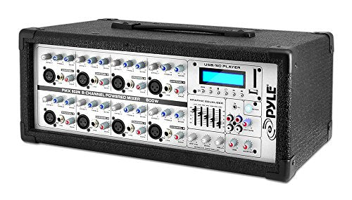 8-Channel Microphone System Powered Mixer - 800 Watts Power Peak AUX (3.5mm) Input Connector SD Memory Card & USB Flash Drive Readers 5-Band Graphic Equalizer LCD Display w/Cooling Fan - Pyle PMX802M