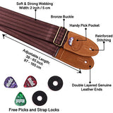 Stringed Instruments Strap for Acoustic, Electric and Bass Guitars, Mandolins and Ukuleles by Hola! Music, Pro Series with Genuine Leather Ends, Pick Pocket, 3 Picks and 2 Strap Locks - Brown
