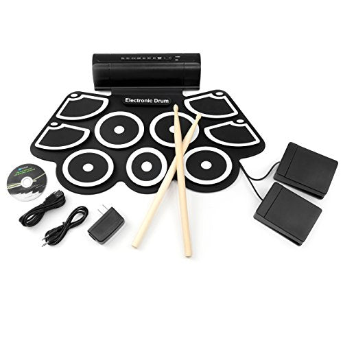 Best Choice Products Roll-Up Foldable Electronic Drum Set w/USB MIDI, Speakers, Foot Pedals, Drumsticks - Black