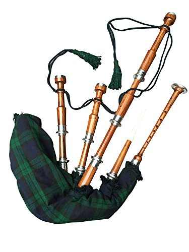 McWilliams PROFESSIONAL SCOTTISH HIGHLAND BAGPIPE FNS MOUNTS BLACK WATCH TARTAN AND HARDBOX