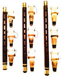 GOLDEN DUDUK - Three (3) ARMENIAN Professional DUDUK with 9 Reeds Ramish & Playing Instructions made from Apricot Wood Dudek Doodook Armenia Bronze Enforcement Rings - Flute Mey Ney Balaban Oboe Doudouk