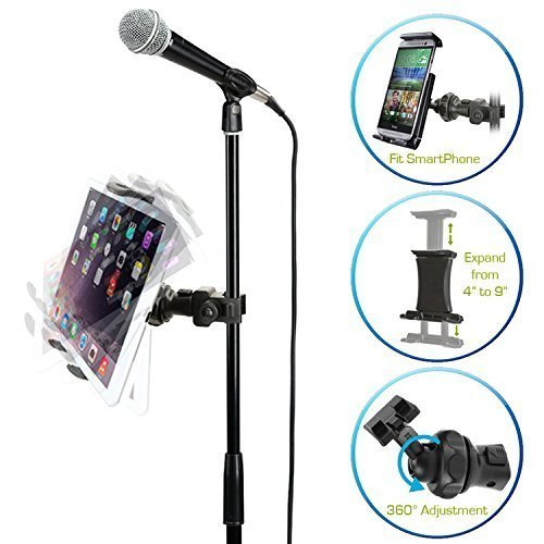 AccessoryBasics EasyAdjust cymbal Microphone Mic Stand Tablet Mount for Apple iPad PRO Air Mini Samsung Galaxy Tab Surface Pro/Book & iPhone X 8 7 Plus 6S Galaxy S8 S9 Note LG V30 MOTO Smartphones