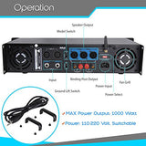 Professional Audio Bluetooth Power Amplifier - 2-Channel Rack Mount Bridgeable, LED Indicators, Shockproof Binding Posts, Cooling Fans 1000 Watt - Pyle Pro PTA1000