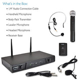 Dual Channel Wireless Microphone System - Portable VHF Audio Mic Set with Clip Lavalier lapel, Handheld, Headset, Transmitter, ¼'' cable, power adapter - For Karaoke, PA DJ - Pyle Pro PDWM2115