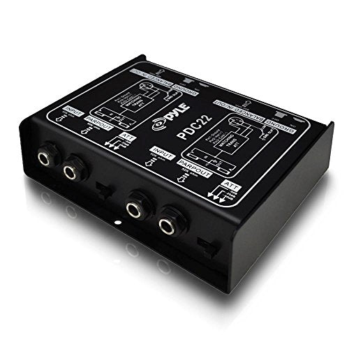 Premium Direct Injection Audio Box - Passive DI Unit Hum Eliminator w/Input Attenuator to Connect Guitar & Bass - 1/4 Inch Impedance Transformer Connector to Balanced & Unbalanced XLR - Pyle PDC22