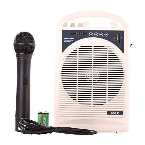 Upgraded Pyle Professional Portable PA System, Amplifier With Built-in Handheld VHF Wireless Microphone, Bluetooth, Battery Rechargeable, MP3, USB, SD, 1/4, 3.5mm, Great for Karaoke
