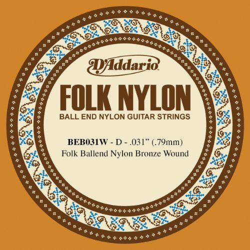 D'Addario BEB031W Folk Nylon Guitar Single String, Bronze Wound, Ball End.031