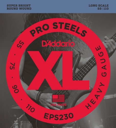 D'Addario EPS230 ProSteels Bass Guitar Strings, Heavy, 55-110, Long Scale