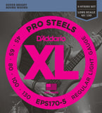 D'Addario EPS170-5 5-String ProSteels Bass Guitar Strings, Light, 45-130, Long Scale
