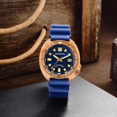 San Martin Bronze Turtle 6105 (Rubber strap) - WR Watches PLT