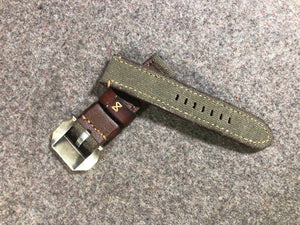 Vintage Fabric Top Leather Strap