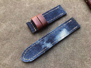 Jeans Fabric Top Leather Strap