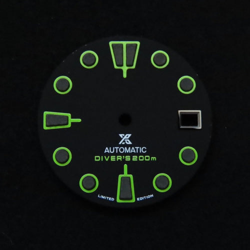 Lime Green Matte Black Dial for Watch Mod