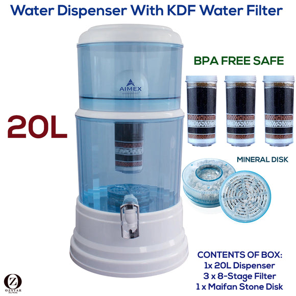 Aimex 8 Stage Water Filter Dispenser 20L Maifan Stone with 3 Filters - Ozstar.com.au