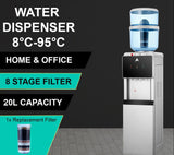 AIMEX WATER COOLER SILVER BLACK FLOOR STANDING WATER COOLER WITH 3 FLUORIDE WATER FILTERS - Ozstar.com.au