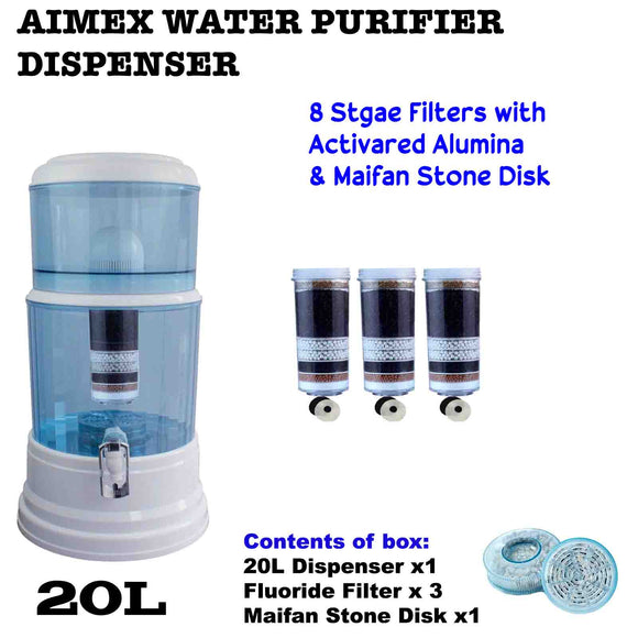 Aimex 8 Stage Water Filter Dispenser 20L Maifan Stone with 3 Fluoride Filters - Ozstar.com.au