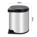 Kitchen Swing Pull Out Bin Garbage Rubbish Waste Trash Can Stainless Steel 14L - Ozstar.com.au