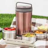 Vacuum Insulated Lunch Box 3 Layer Stainless Steel Food Containers + Insulated Bag + Cutlery