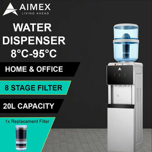 Aimex Water Cooler Black and Silver Free Standing with Free 8 Stage Filter and Purifier