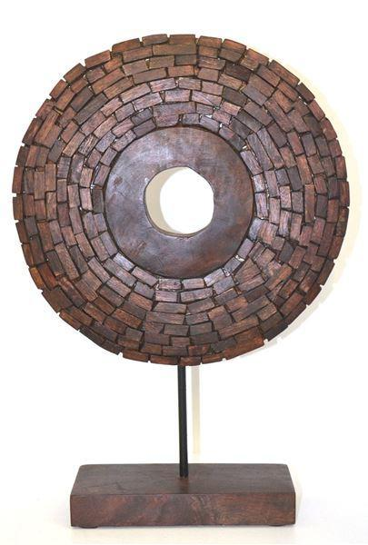 wheel on stand wooden brown 30x9x44cm