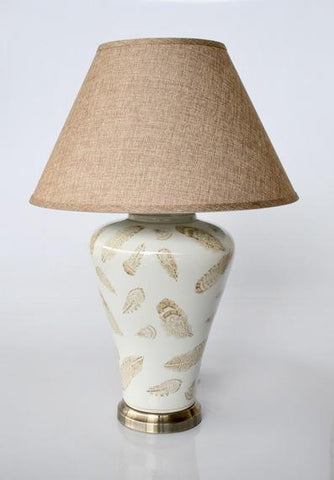 Beige feather lamp with base  71X50CM - Unique Wood