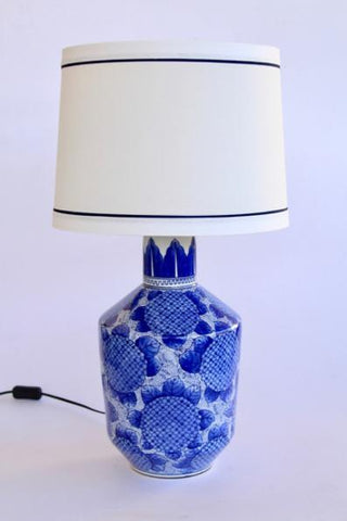 Blue and white hydrangea lamp with cream shade Included 73X36CM - Unique Wood