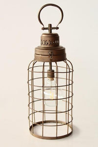 Battery operated hanging mesh lamp 51X17.5CM Unique wood lifestyle