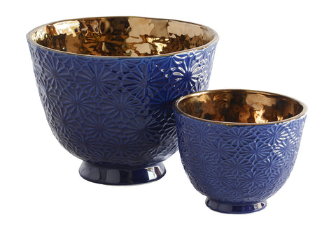 Ceramic flower Votive Blue Copper Set of 2