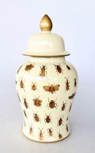 Cream jar with gold insects 45x25cm unique wood