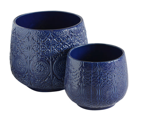Ceramic Urn Blue Set of 2