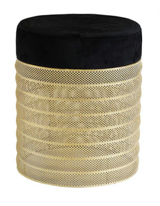 Metal rushian stool round black