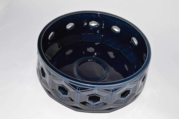 Ceramic Crackled Blue Pot Large - Unique Wood