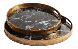 Glass tray black marble set of two